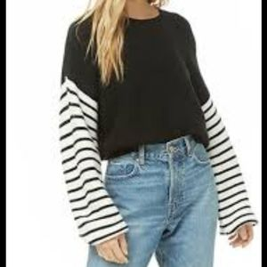 NWT forever 21 striped balloon sleeve sweater